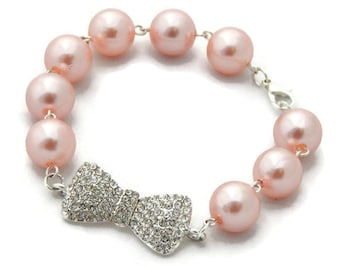 Pink Pearl and Rhinestone Bow Bracelet, Womens vintage inspired jewelry