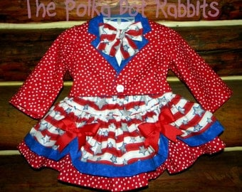 Toddler-Girls Uncle Sam Poofy Skirt with Tux Style Jacket 'N Tails, White Puff Sleeve Blouse and Bow Tie. Size 12 18 month, 2T 3T 4T 5 6 8