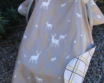 Baby Car Seat Canopy -  Baby Car Seat Cover - Deer Car Seat Canopy - Woodland Car Seat Cover - Gold Car Seat Canopy - Baby Shower Gift