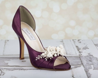 Wedding Shoes - Flower Shoes - Handmade Wedding - Aubergine  - Dyeable Choose From Over 200 Colors - Custom Shoes - Hand Beaded Parisxox