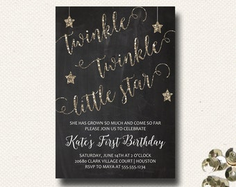 Twinkle Twinkle Little Star Birthday Invitation Chalkboard Glitter