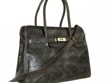 Distressed Dark Brown Leather Bag Cross-body Purse Ilita