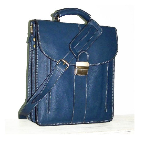 Cerulean Blue Leather Messenger Bag Elie M fits an ipad