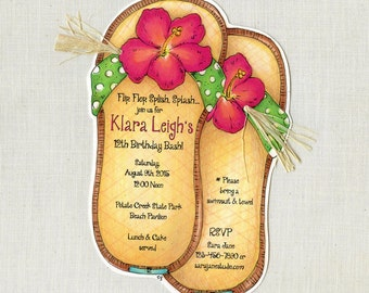 Personalized - Sandle - Flip Flop - Beach - Summer - Birthday - Party - Invitations - Handcut - Sara Jane - Set of 40