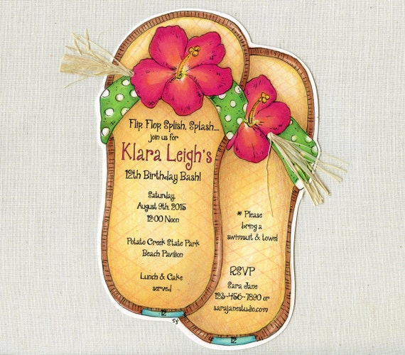 Personalized - Sandle - Flip Flop - Beach - Summer - Birthday - Party - Invitations - Handcut - Sara Jane - Set of 25