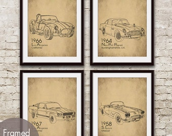 Vintage Dream Cars - Set of 4 - Art Prints  (Featured in Cork Board and Black) (Shelby Cobra, Mustang, Aston Martin, Corvette)