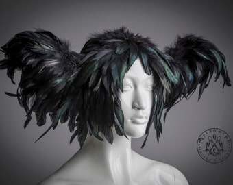 Black feather headdress / Horn headpiece Feathered art wig / Wings headpiece / Edgy fashion / Cosplay / Burning man / Tribal fusion / Gothic