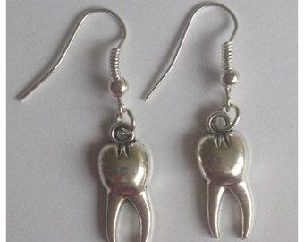 Wisdom Tooth Silver Tone Charm Earrings