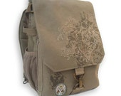 "Backpack in Tan Canvas: Great gift for men!  Embroidered and Screen-Printed ""Sirrush"" Dragon Laptop Bag"