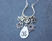 Sterling Silver World Religions Coexist charm cluster necklace- peace sign, om, hamsa, eye of horus, cross, Star of David- free ship USA