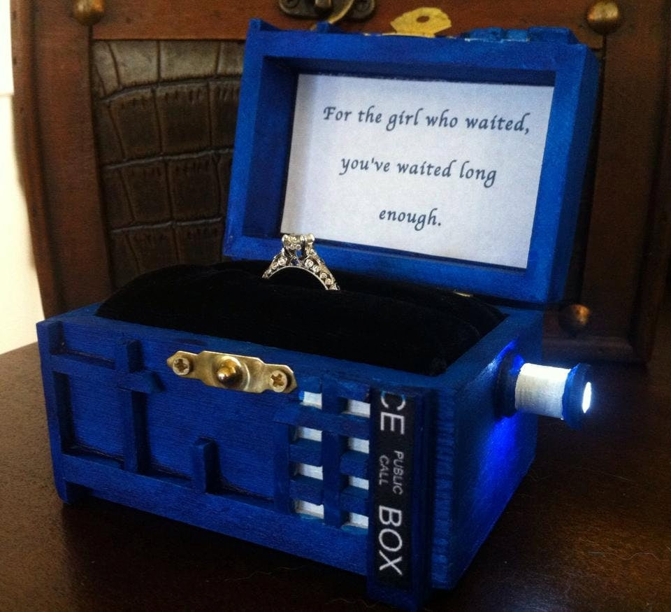 Police Box Wedding Ring Box With LED Light Handmade Police Box