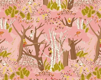 Climbing trees in pink from the Tiger Lily collection by Heather Ross