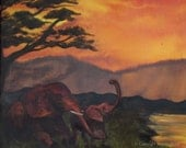 The Sisterhood, triptych, II of III, mixed media painting - Elephant art - limited edition archival print