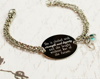 Proverbs 31 she is clothed in strength oval bracelet, stainless steel with swarovski crystal or pearl