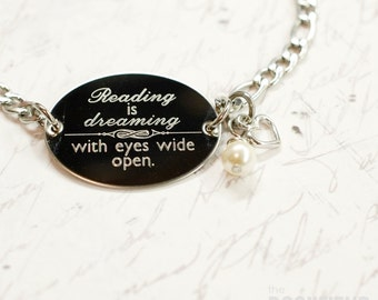Reading is dreaming with eyes wide open oval bracelet, stainless steel with swarovski crystal or pearl