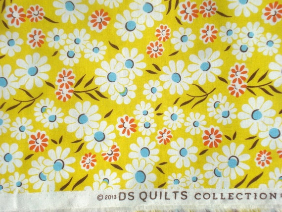 Croquet floral yellow DS Quilts Denyse Schmidt fabric Long Quarter Yard