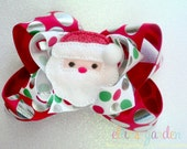 Christmas Santa Holiday Boutique Style Hair Bow Red Silver Dots Red White Green