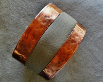 Light Grey Leather Cuff Bracelet with Copper Mens or Womens