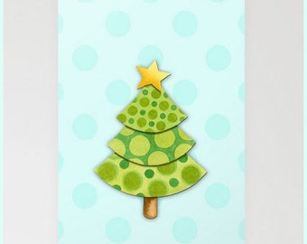 Christmas Tree Holiday Cards blue polka dots 5 x 7 with envelopes by Maine artist Patricia Shea
