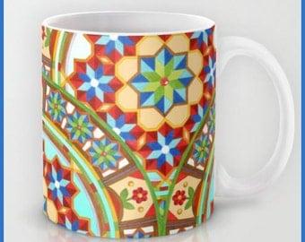 Westminster Mandala mug for coffee tea ceramic kitchen decor pattern watercolour design by Maine artist Patricia Shea