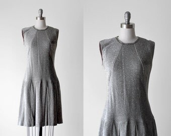 60 metallic dress. silver scooter dress. 1960's m dress. drop waist. 60's vintage.