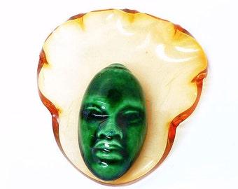 Vintage Tribal Face Mask -  Golden Lucite & Green Ceramic Elzac Bonnet Head Brooch