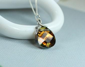 Swarovski Briolette Necklace, Swarovski Amber Yellow Crystal Necklace, Cathedral Swarovski Crystal Necklace, Gift For Her