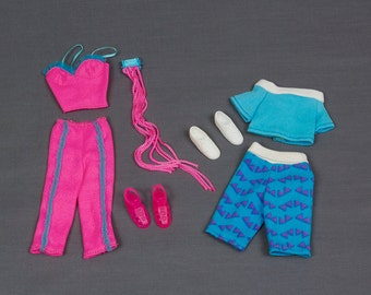 Barbie fashion clothes 2 outfits Bright pink bustier and capris with pink gladiator sandals and wrist cuff with fringe and knee length......