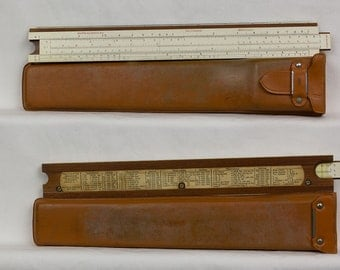 1961 Keuffel & Esser Slide Rule Deci-lon 10, 68-1100 in Brown Leather Case with flap and hinge on back