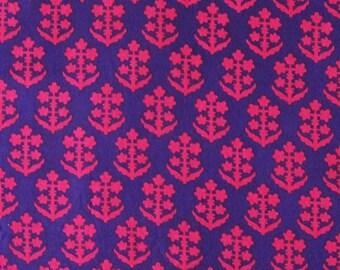 hand block print cotton fabric - pink floral motif on purple -1 yard - ctsm098