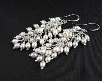 White Freshwater Pearl Cluster Earrings Pearl Cluster Earrings Pearl Bridal Earrings Pearl Wedding Earrings