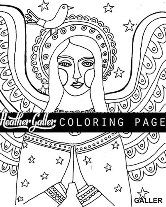 Angel coloring folk art coloring book adult coloring book for Folk art coloring pages