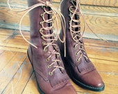 Pointed tip, Lace up Brown Leather Boot, Avonite soles lower calf height Size 8