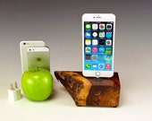 Walnut dock charger stand for any iPhone. 737.. Live edge. Stunning grain and color. Sustainably harvested. Natural wood.