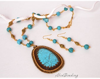 Bead Embroidery Pendant Beadwork Necklace with Turquoise and Earrings