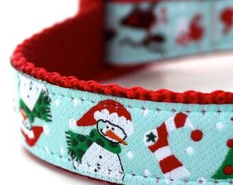 Holiday Time Dog Collar, Ribbon Dog Collar, Adjustable, Christmas Dog Collar