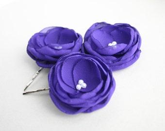 Purple Flower Hair Clips, Floral Hair Pieces, Flower Hair Pins, Bridal Headpieces, Bridesmaid Accessory, Flower Girl Hairpieces, Hair Comb
