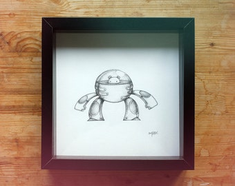 """Original graphite drawing """"Armadura de robot"""" (robot armour)"""