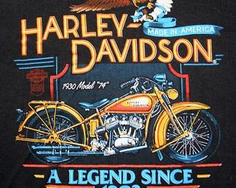 1980's Harley Davidson motorcycle biker 1930 Model 74 50/50 unisex t-shirt - men's sz L