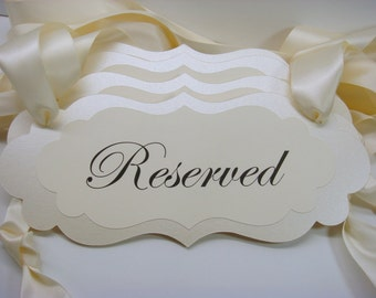 Wedding Decor Signage Ceremony Pew Signs for your Reserved Wedding Seating During Your Wedding Ceremony Prepared in your Wedding Colors