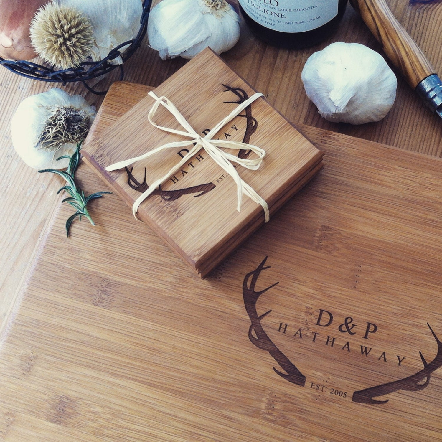 Personalized Cutting Board And Coasters Gift Set Custom