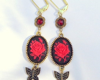 PS, Rose Cameo Earrings, Dangling Red Roses, Gold & Black Butterfly, Valentine Earrings, Edwardian Fantasy, OOAK