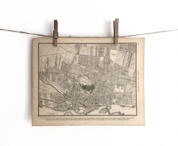 Vintage 1930 39 S Map Of Central Montreal Canada City By