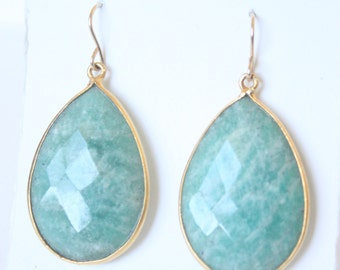 Natural Dark Green Amazonite Gold Vermeil Earrings