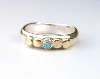 Blue opal ring, Engagement Ring , gold and silver sterling ring, 14k gold ring ,Opal  ring, October stone, gift idea