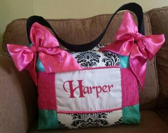 HUGE Turquoise light pink minky dot diaper bag black white damask Custom Handsome Beautiful