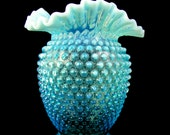 Vintage Fenton Blue Opalescent Hobnail Double Crimped Ruffled Vase - Free USA Shipping