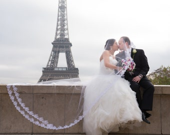Wedding Veil - Cathedral Drop Two-Tier Mantilla with Double French Alencon Lace at Train and Swarovski Crystals