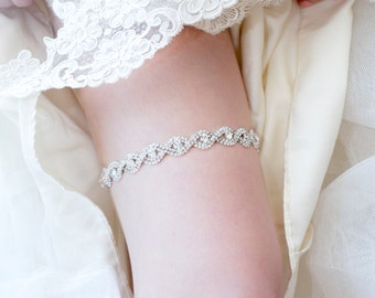 Bridal Garter - Wedding Keepsake Garter with Crystals