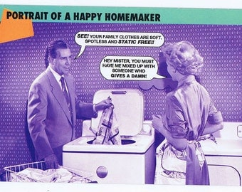 Portrait Of A Happy Homemaker humor postcard from Women on the Verge series